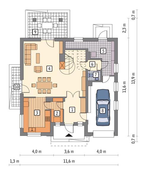 Rzut parteru POW. 101,2 m²