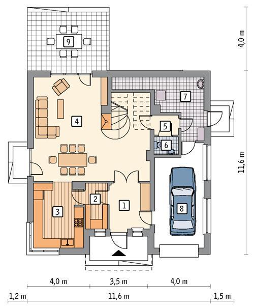 Rzut parteru POW. 101,6 m²