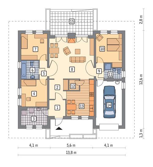 Rzut parteru POW. 128,0 m²
