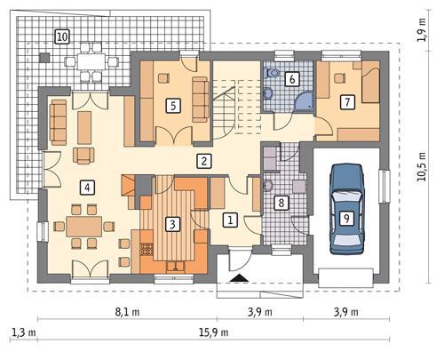 Rzut parteru POW. 120,7 m²