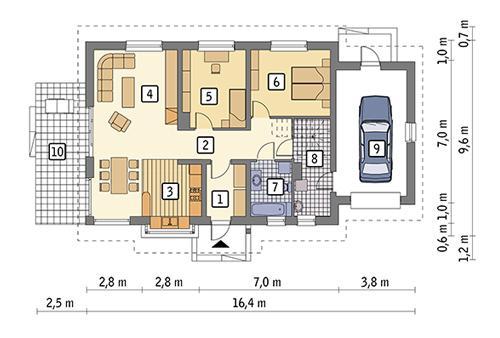 Rzut parteru POW. 111,1 m²
