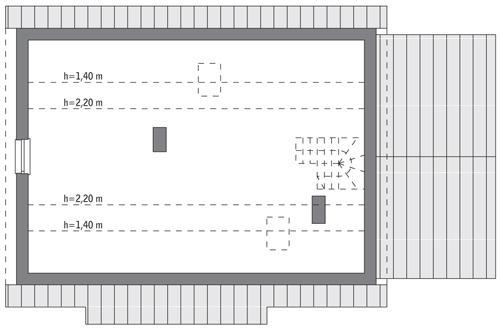 Rzut poddasza: do indywidualnej adaptacji (48,5 m2 powierzchni użytkowej)