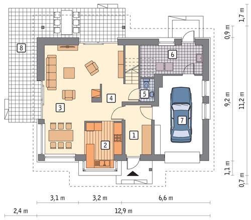 Rzut parteru POW. 88,0 m²