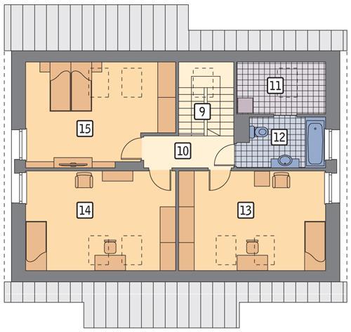 Rzut poddasza POW. 90,0 m²
