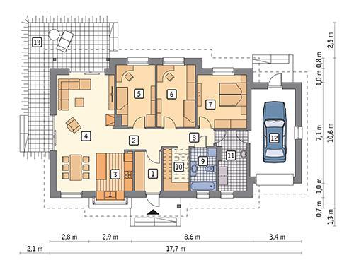 Rzut parteru POW. 125,5 m²