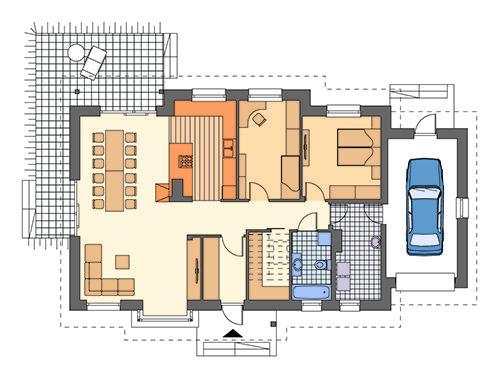 Rzut parteru: Wariant z dwoma sypialniami i inaczej usytuowaną kuchnią