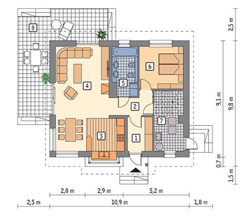 Rzut parteru POW. 76,7 m²