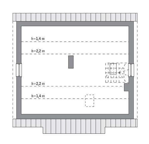 Rzut poddasza: do indywidualnej adaptacji (40,3 m2 powierzchni użytkowej)