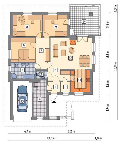 Rzut parteru POW. 142,2 m²