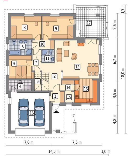 Rzut parteru POW. 165,3 m²