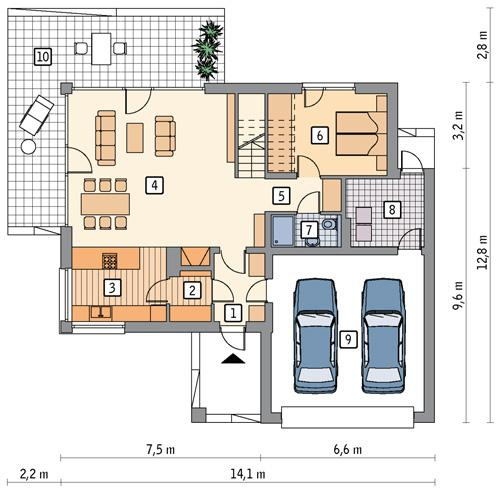 Rzut parteru POW. 116,8 m²