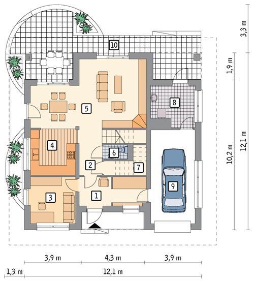 Rzut parteru POW. 94,9 m²