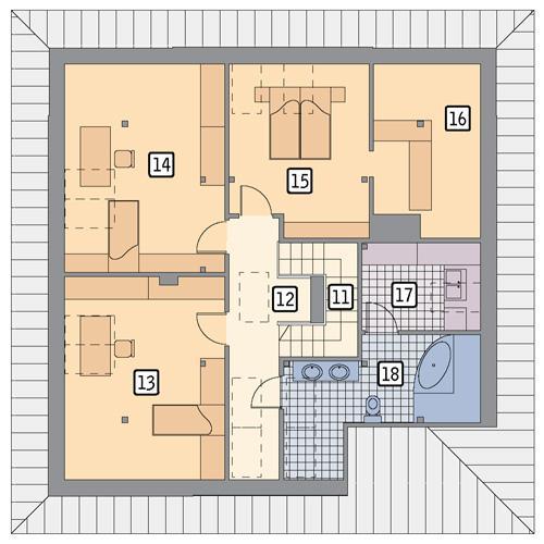 Rzut poddasza POW. 110,5 m²