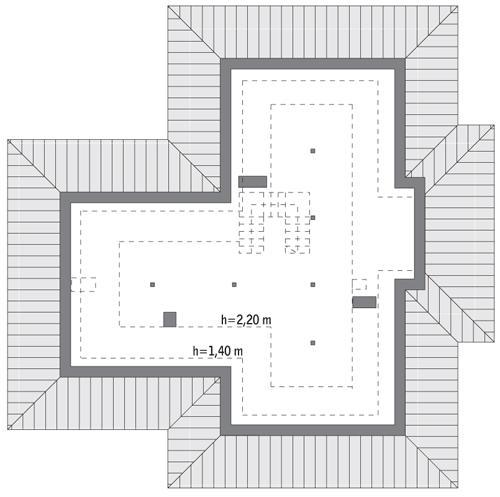 Rzut poddasza: do indywidualnej adaptacji (84 m2 powierzchni użytkowej)