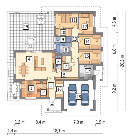 Rzut parteru POW. 200,8 m²