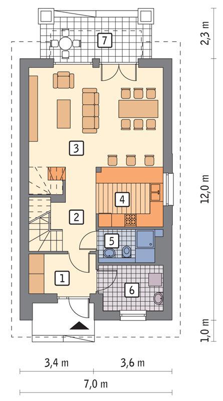 Rzut parteru POW. 62,6 m²