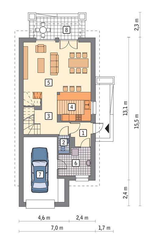 Rzut parteru POW. 79,4 m²