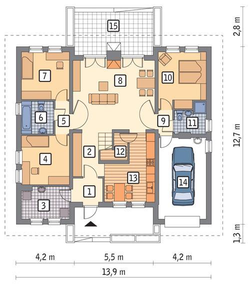 Rzut parteru POW. 126,1 m²