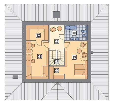 Rzut poddasza POW. 67,7 m²