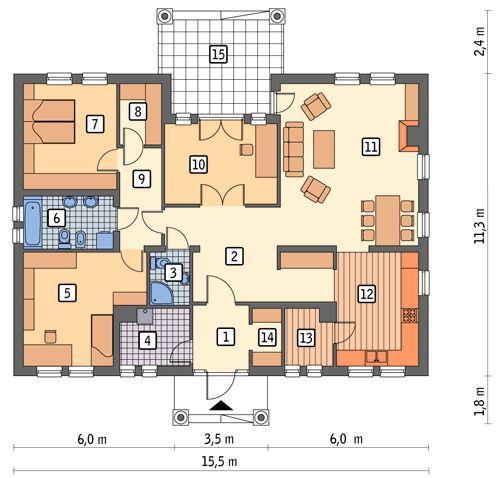 Rzut parteru POW. 136,2 m²