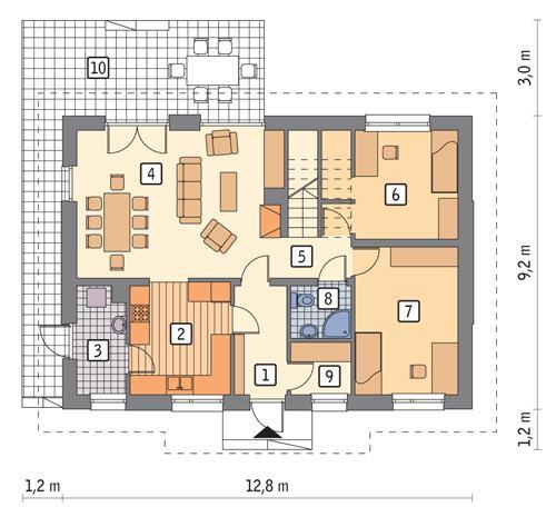 Rzut parteru POW. 84,9 m²