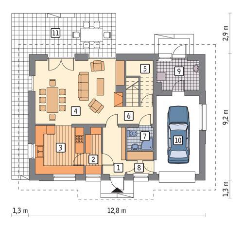 Rzut parteru POW. 85,0 m²