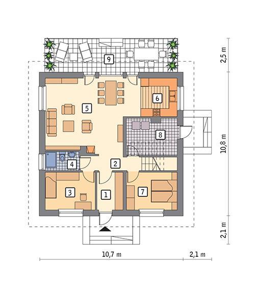 Rzut parteru POW. 86,2 m²