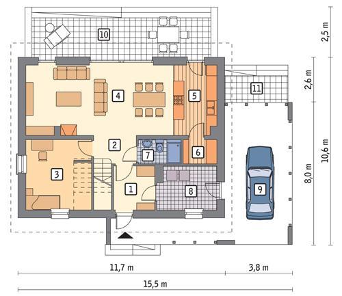 Rzut parteru POW. 78,4 m²