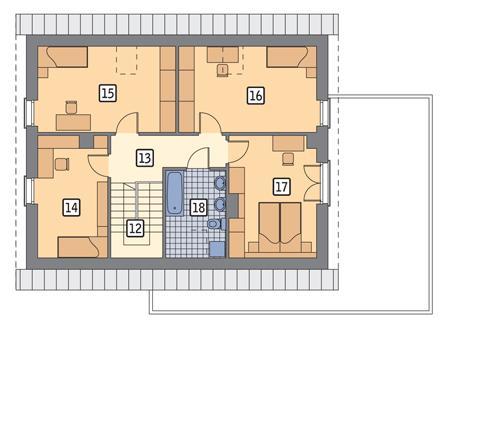 Rzut poddasza POW. 82,1 m²