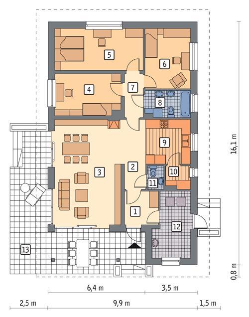 Rzut parteru POW. 112,0 m²