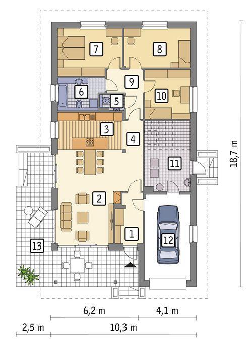 Rzut parteru POW. 140,4 m²