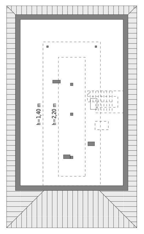 Rzut poddasza: do indywidualnej adaptacji (46,7 m2 powierzchni użytkowej)