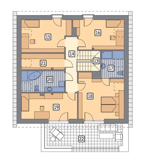 Rzut poddasza POW. 126,0 m²