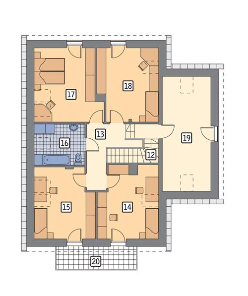 Rzut poddasza POW. 117,0 m²