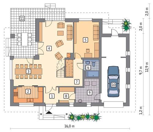 Rzut parteru POW. 126,2 m²