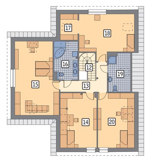 Rzut poddasza POW. 151,4 m²