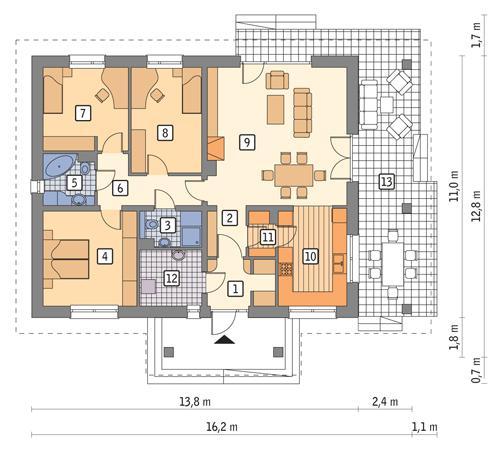 Rzut parteru POW. 115,4 m²