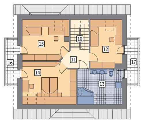 Rzut poddasza POW. 89,1 m²