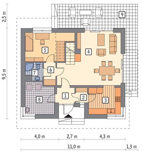 Rzut parteru lustro POW. 70,7 m²