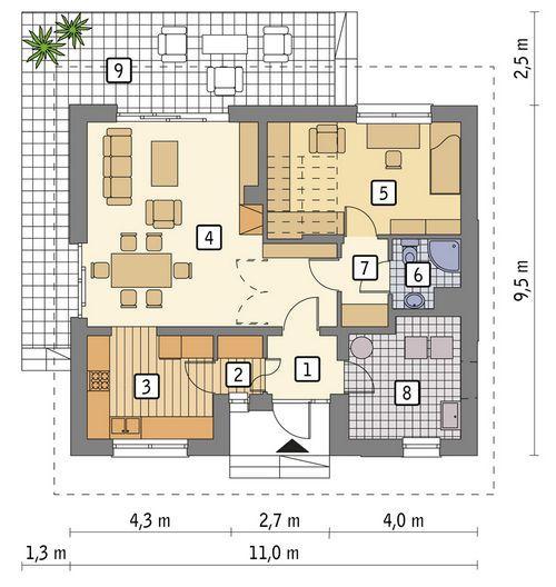 Rzut parteru POW. 72,9 m²
