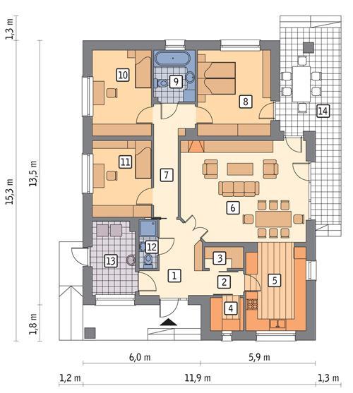 RZUT PARTERU LUSTRO POW. 124,7 m²