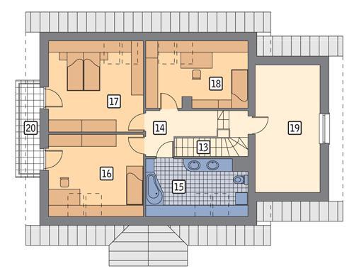 Rzut poddasza POW. 107,3 m²