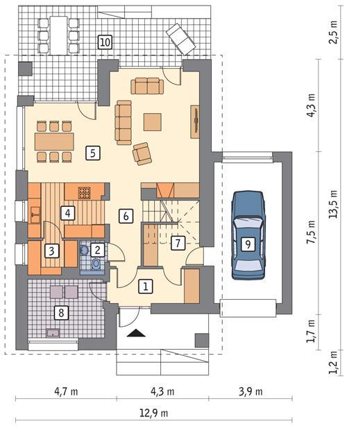 Rzut parteru POW. 99,4 m²