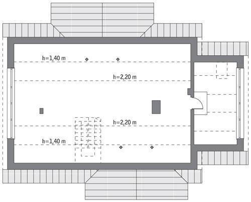 Rzut poddasza: do indywidualnej adaptacji (65,8 m2 powierzchni użytkowej)