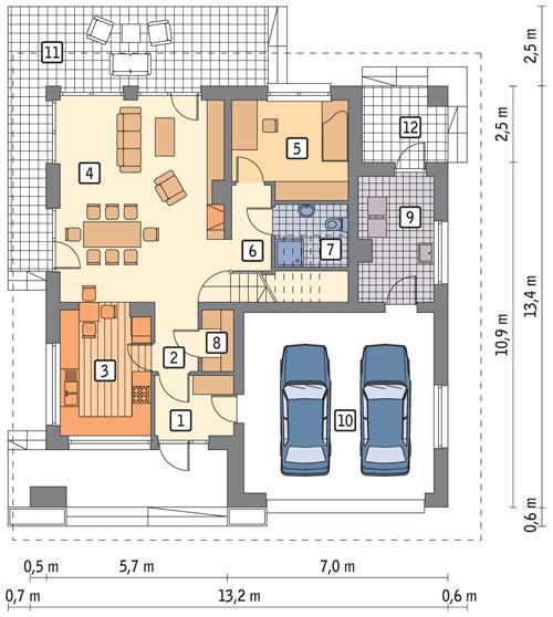 Rzut parteru POW. 113,0 m²