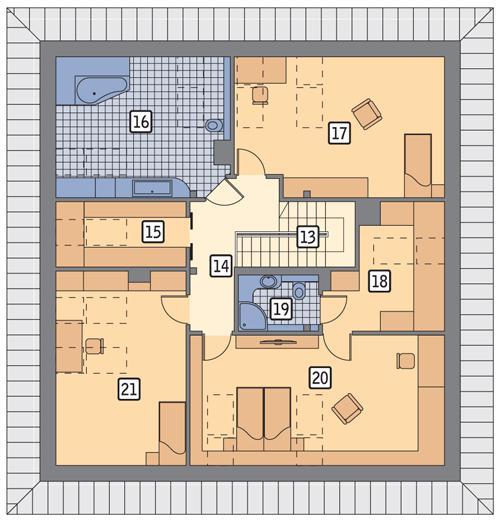 Rzut poddasza POW. 136,0 m²