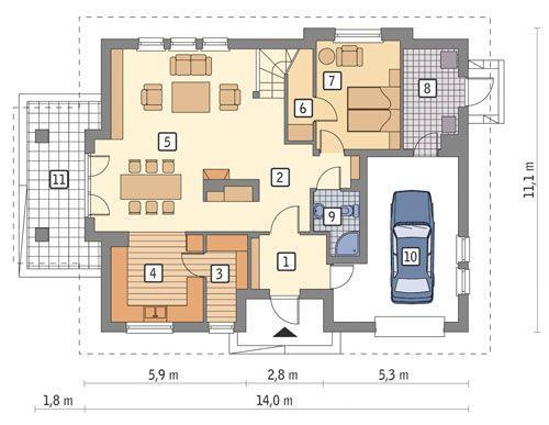 Rzut parteru POW. 114,7 m²