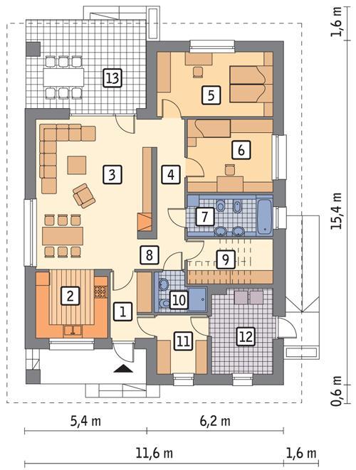 Rzut parteru POW. 117,2 m²