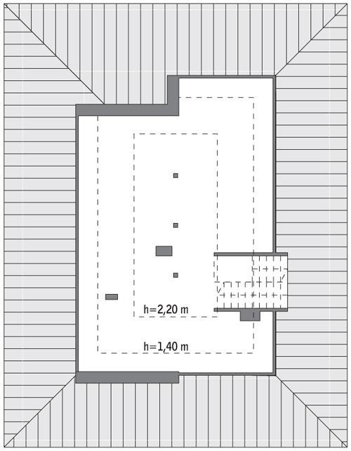 Rzut poddasza: do indywidualnej adaptacji (37,5 m2 powierzchni użytkowej)