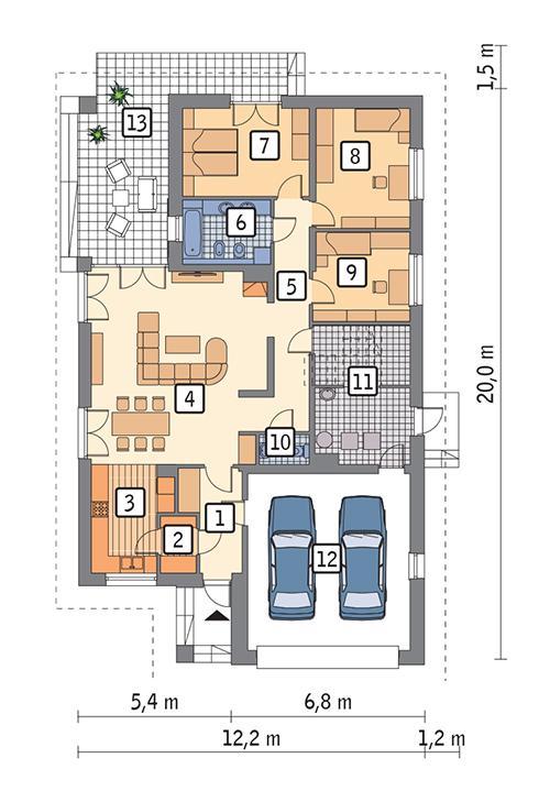 Rzut parteru POW. 164,7 m²